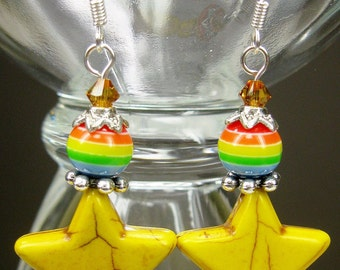 YELLOW Howlite Stars Western Cowgirl Drop Earrings - RaiNBoW STaRs -