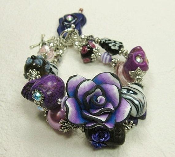 Purple Day of the Dead / Sugar Skull Jewelry / Dia de los Muertos / Cowgirl Charm Bracelet - PurPLe FuSioN