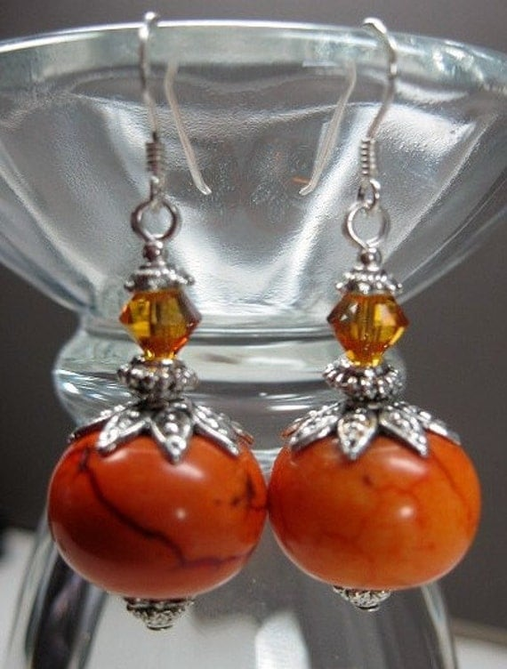 COWGIRL / RODEO QUEEN Chunky Earrings - ORaNge MaRMaLaDe -
