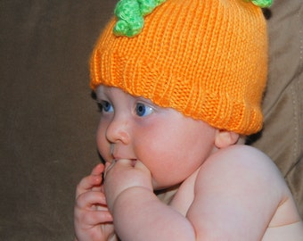 Baby Pumpkin Orange Thanksgiving costume Infant  pumpkin beanie hat 3 to 6 m OOAK  Ready to ship from Colorado. Perfect Photo Prop