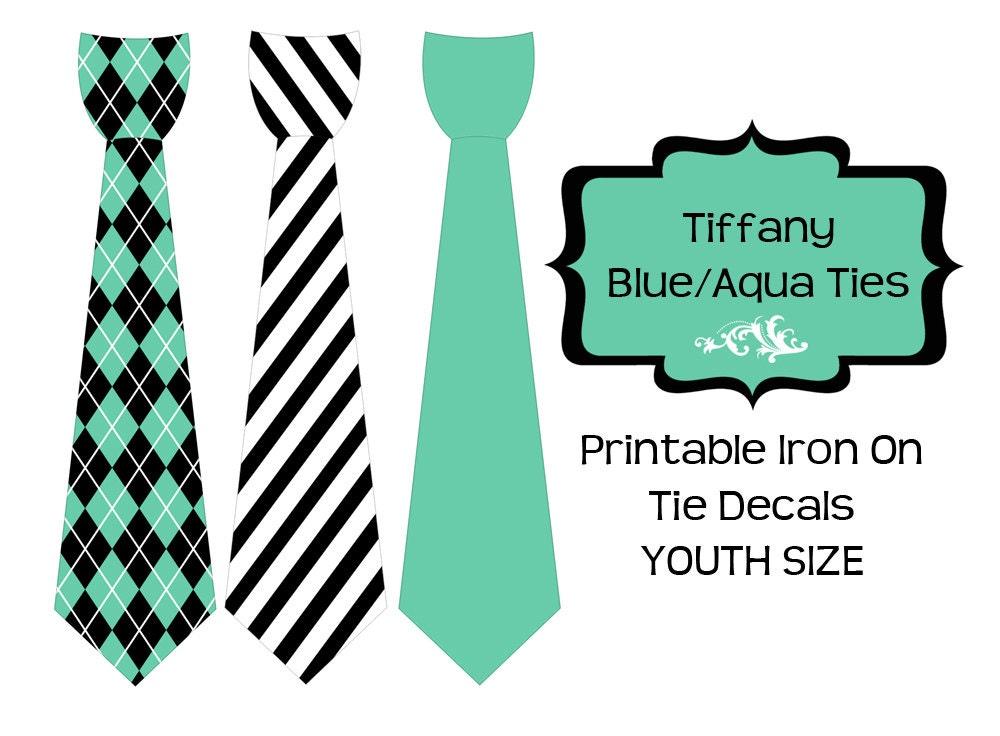 tiffany blue aqua ties printable diy iron on tie decal youth. Black Bedroom Furniture Sets. Home Design Ideas