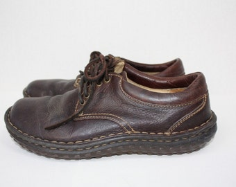 Brown Leather Born Lace Up Shoes Oxfords Size 6 /12 Medium Euro 37 Urban Indie Outdoors Woodland Preppy
