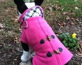 Dog Fleece Pink  Pea Coat