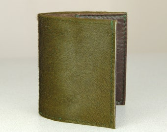 Handmade Leather Bifold Card Wallet In Olive Green Hair On Hide & Brown Leather.