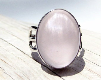 Rose Quartz Sterling Silver Ring . US Size 7.75