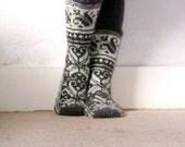 Hand Knit Wool Socks Grey White Scandinavian Norwegian Fairisle Floral Christmas Nordic Slippers