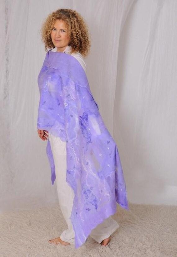 Lilac handmade nuno felted shawl scarf for women from silk chiffon and merino wool - Christmas gift