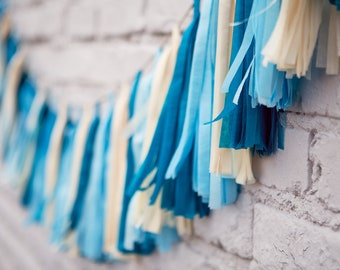 Tassel Party Garland: Shades of Blue
