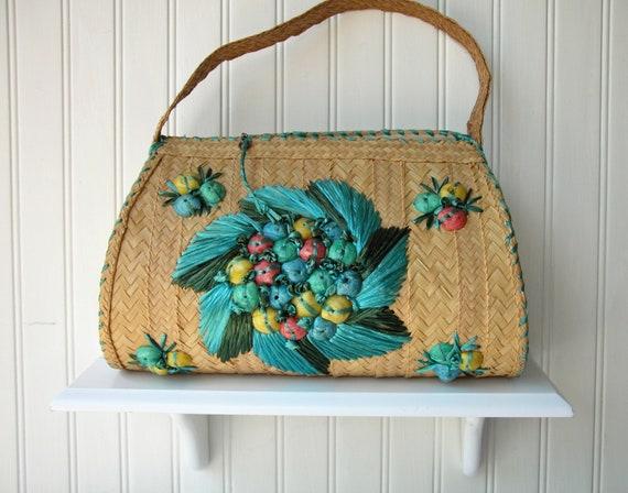 Vintage Straw Handbag with Seashell Motif