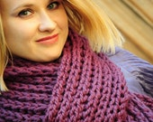 Fig Pink Chunky HandKnit Scarf