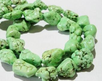 Green Nugget Beads - Green Magnesite Turquoise Nugget Beads - 16' Strand -  Dark Matrix - Extra Chunky Natural Gemstone - DIY jewelry Making