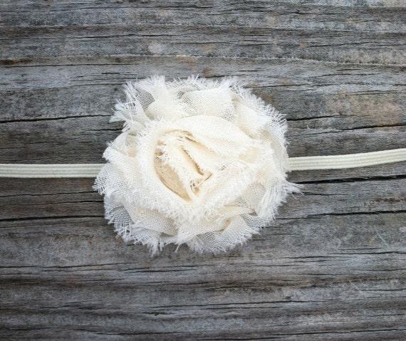 Ivory Baby Headband, Ivory Flower Headband, Baby Girl Headbands, Cream Shabby Flower Headband, Toddler Headband, Photo Prop, Infant Headband