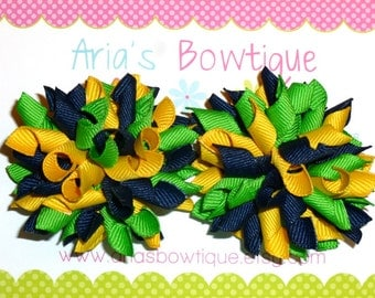 A Pair Of Navy, Apple Green And Yellow Mini Korker Hair Bows