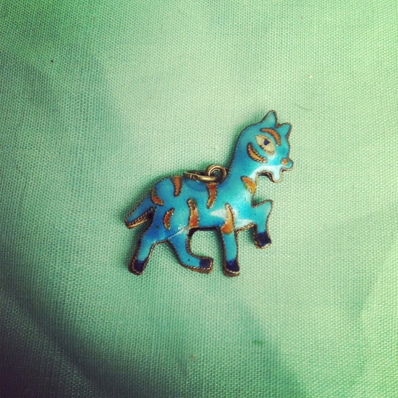 Vintage Blue and Gold Enamel Zebra Charm