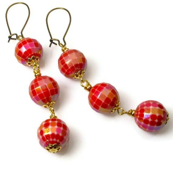 Red Dangle Earrings, Long, Beaded Red Jewelry