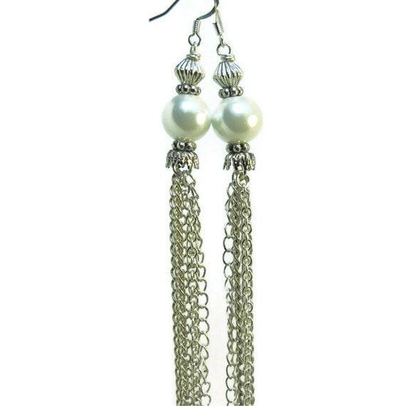 Silver Tassel Earrings,  Repurposed Vintage, Pearl