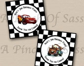 PRINTABLE DIY - Disney Cars Lightning McQueen and Mater Personalized Birthday Party Cupcake Toppers / Circle Tags Sheet