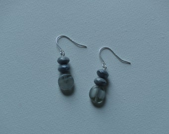 Sterling silver dangle earrings with gray glass vintage beads