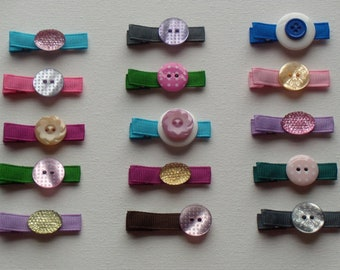 Lot of 10 alligator hair clips - rainbow of colors, grosgrain ribbon & buttons, designer's choice