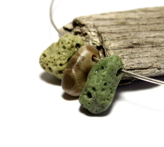 "Seafoam Green Seaglass Jewelry Beads- Drilled Slag Glass from Inland Michigan Sea- Petoskey Fossil Drilled- ""Sponges"" by Allybeans"
