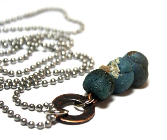 Slag Glass Bluestone Necklace- Aqua Turquoise Teal Glass Beads- Natural Aquamarine Pendant