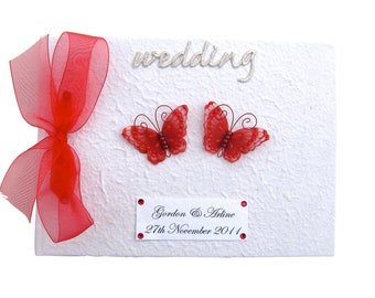 Personalised red butterfly Wedding Guest Book