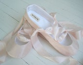 Pink Ballet Slippers, Silk Flats, CARLY Custom Made Adult Shoes by Bobka Baby
