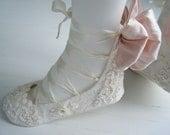 Wedding Bridal Flats, Womans BOBKA BOOT,Jane Austen, Regency Ivory Lace Ballet Shoes by Bobka Baby