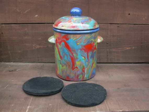 Rainbow Swirled Ceramic Compost Lidded Canister with Charcoal Filters - Navy Blue Interior