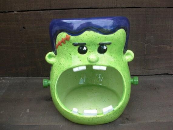 Frankenstein Candy Bowl - Large Handpainted Ceramic Halloween Decor - Dark Purple and Neon Green