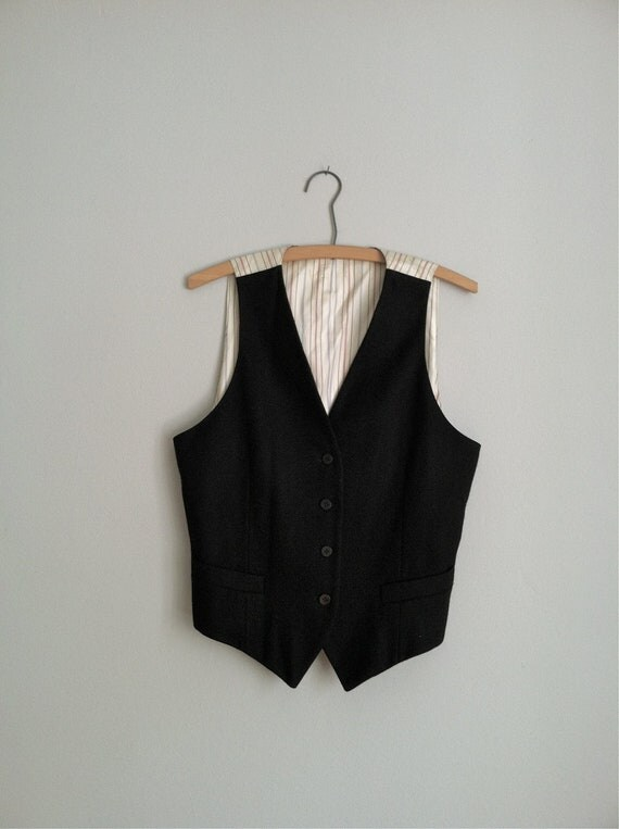 sale 1980's FITTED VEST.  pinstriped fabric back
