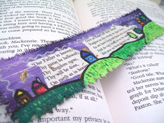Painted Bookmark, Little Village and The Lords Prayer, Original Art Painting