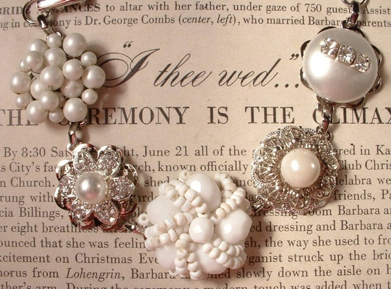 RESERVED Vintage White Pearl, Milk Glass & Rhinestone Bridal Bracelet, Cluster Earring Bracelet OOAK Heirloom
