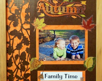 FALL FAMILY TIME Autumn Memory Album Page (Natural Veneer Shadow Box Frame Sold Separately)