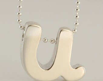 Little U Letter Necklace, Thick Sterling Silver Letter with Brilliant Diamond Cut Silver Chain, Last Minute Gift