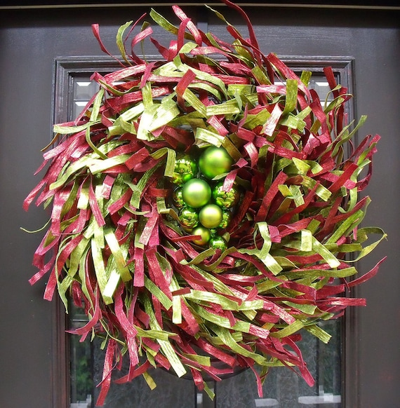 Christmas Wreath, Ribbon Wreath, Door Wreath, Christmas Decoration, Red and Lime