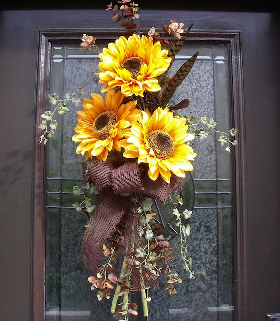 Fall Door Swags: Items Similar To Fall Wreath Yellow Sunflower Swag Summer