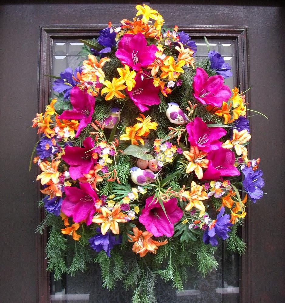 Summer wreaths door wreath front door decoration colorful for Colorful summer wreaths