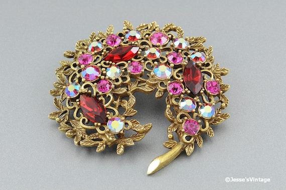 Vintage Emmons Brooch Pink AB & Red Rhinestones Gold Tone