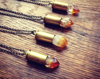 Citrine Bullet Necklace