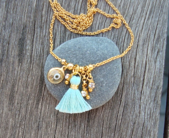 Evil Eye Necklace with Turquoise Tassel
