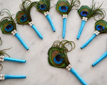 Curled Peacock Feather Boutonniere