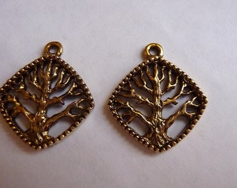 SALE!! Charm, Antiqued, Gold Plated, Pewter, tin based alloy, 20x20mm, Single Sided, Diamond, Tree of Life, Design,  Pkg of 2