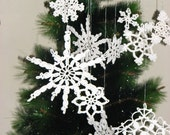 10 Lace Crochet Snowflakes, Christmas Home Decor, Cristmas Ornament, Cristmas Gift, 10 Different Designed Snowflakes, Crochet Snowflakes