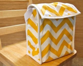 Reusable Lunch Bag - Yellow Chevron