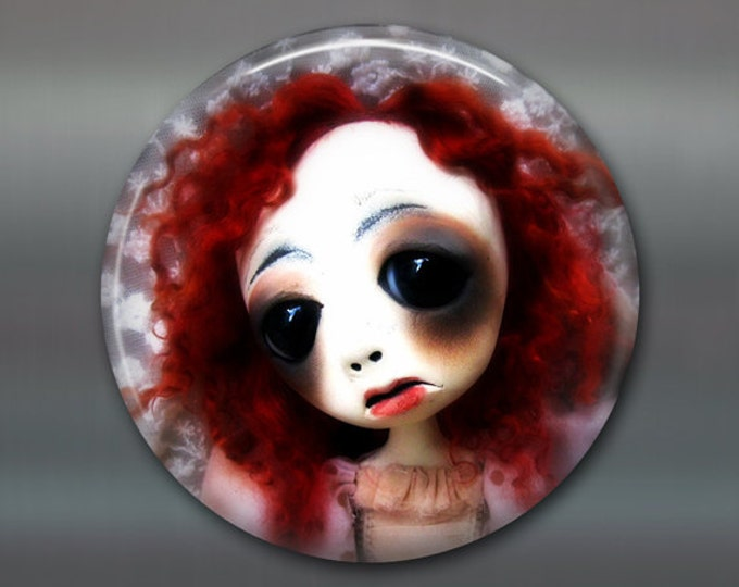"3.5"" gothic doll fridge magnet, large magnet kitchen decor, gift for doll collector, gothic art decor, stocking stuffer gift for her MA-AD39"