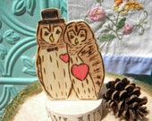 Barred Owl Woodland Wedding Cake Topper, Owl or ANY  Animal  Bride and Groom , Eco Friendly Pokeberry Critters  Wood Personalized