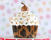 Cupcake Ornament - Mini Leopard Pattern #CUP201