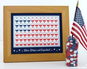 4th of July Cupcake Flag Art Print 8x10 #ART103