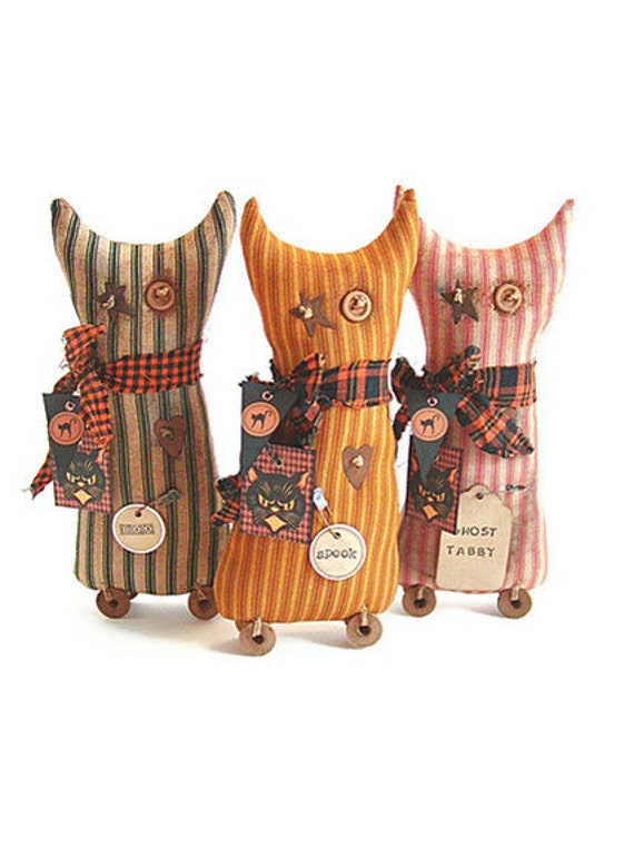 Cat Shelf Sitters, Halloween, Cat, Decoration, Primitive Shelf Sitter, Ticking Fabric, Green, Mustard, Red, Primitive, Trio